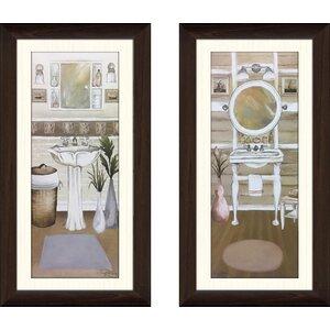 'Seaside Bath I' 2 Piece Framed Acrylic Painting Print Set by Ophelia & Co.