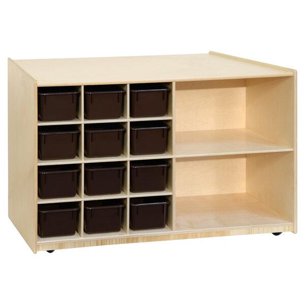 Mobile Storage Double Sided 12 Compartment Cubby with Trays by Wood Designs