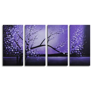 'Winter Solstice' 4 Piece Print of painting on Canvas Set by August Grove