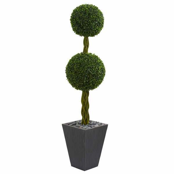 Double Ball Artificial Floor Boxwood Topiary in Planter by Orren Ellis