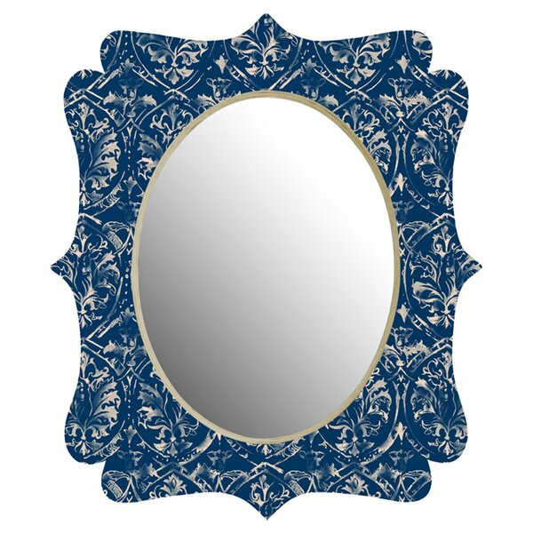 Pattern State Deer Damask Indigo Quatrefoil Wall Accent Mirror by Deny Designs