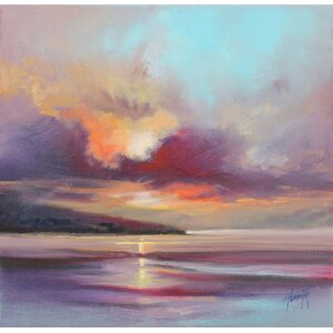 'Cloudy Beach I' by Scott Naismith Painting Print on Wrapped Canvas by Hobbitholeco.