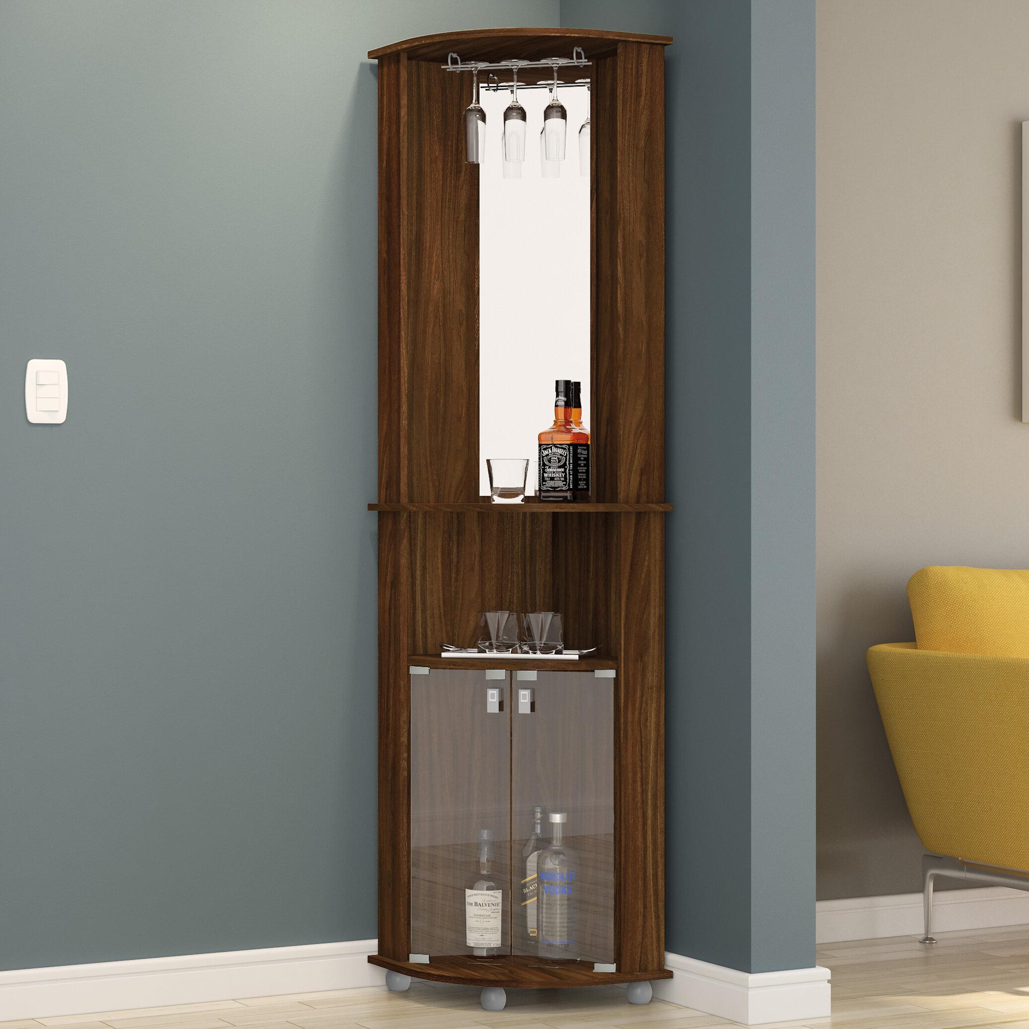 Boahaus Corner Bar Cabinet With Mirrored Wall U0026 Reviews | Wayfair
