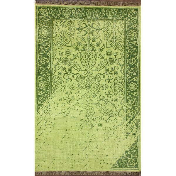 Ayers Green Washed Damask Fringe Rug by nuLOOM