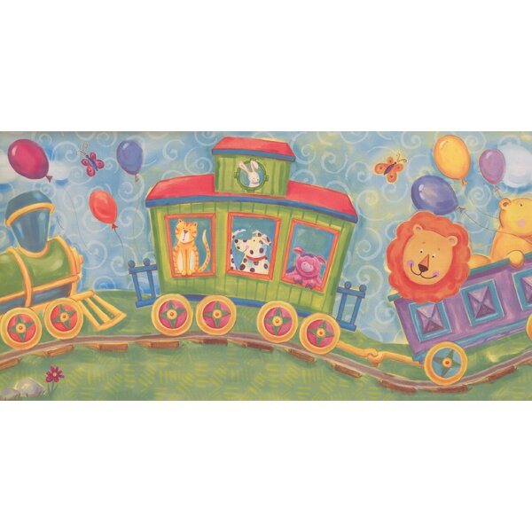 Jarboe Cartoon Animals on Train Wallpaper Border by Zoomie Kids