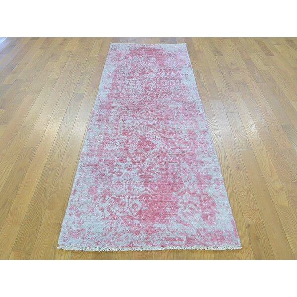 One-of-a-Kind Beane Broken Design Handwoven Pink Wool/Silk Area Rug by Isabelline
