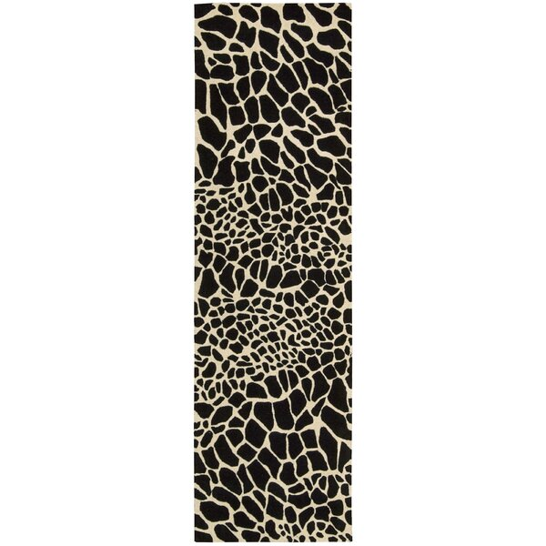 Goulmima Hand-Woven Black/Ivory Area Rug by World Menagerie