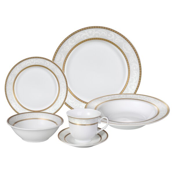 Amelia 24 Piece Porcelain Dinnerware Set, Service for 4 by Lorren Home Trends