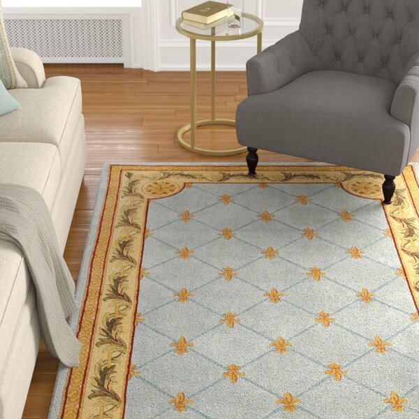 Totternhoe Wedgewood Blue Fleur-De-Lis Area Rug by Astoria Grand