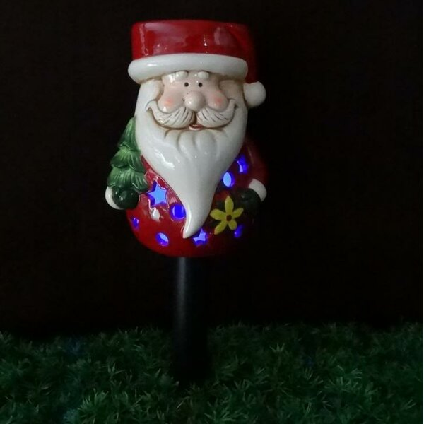 Santa Claus Ceramic Solar Powered Changing LED Light by BZB Goods