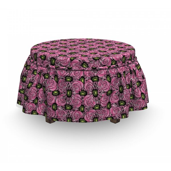 Roses And Gerbera Ottoman Slipcover (Set Of 2) By East Urban Home