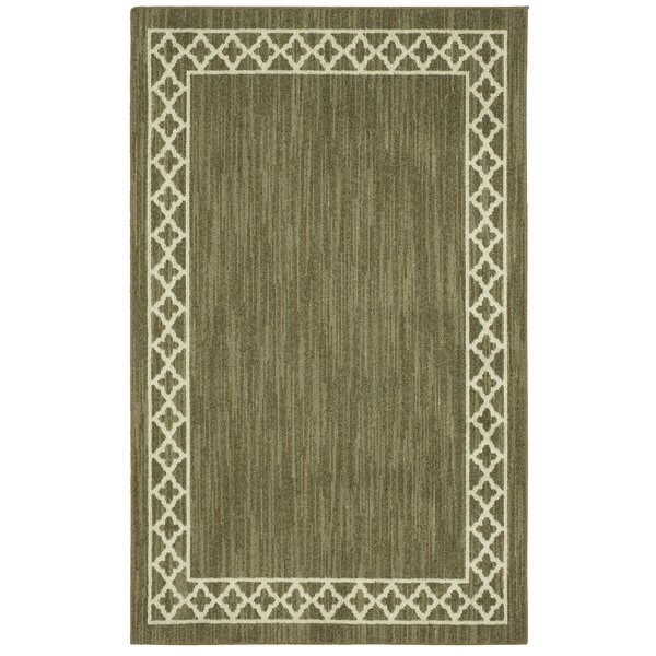 Madera Moroccan Border Green/Beige Area Rug by Ophelia & Co.