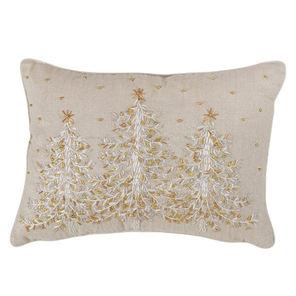 Artin Embroidered Christmas Tree Lumbar Pillow by The Holiday Aisle