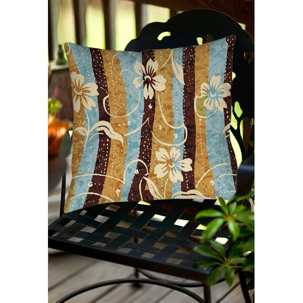 Floral Study in Stripes Indoor/Outdoor Throw Pillow by Manual Woodworkers & Weavers