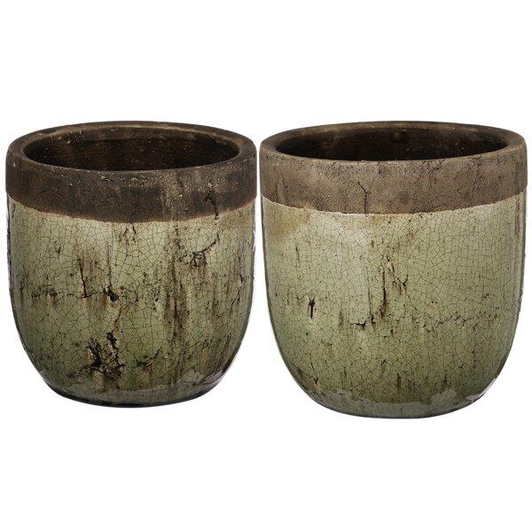 Winscombe 2 Piece Ceramic Pot Planter by Fleur De Lis Living