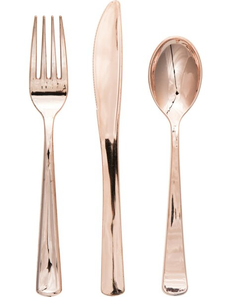 Rosegold Metallic Plastic Disposable Flatware Combo Pack (Set of 24) by Creative Converting