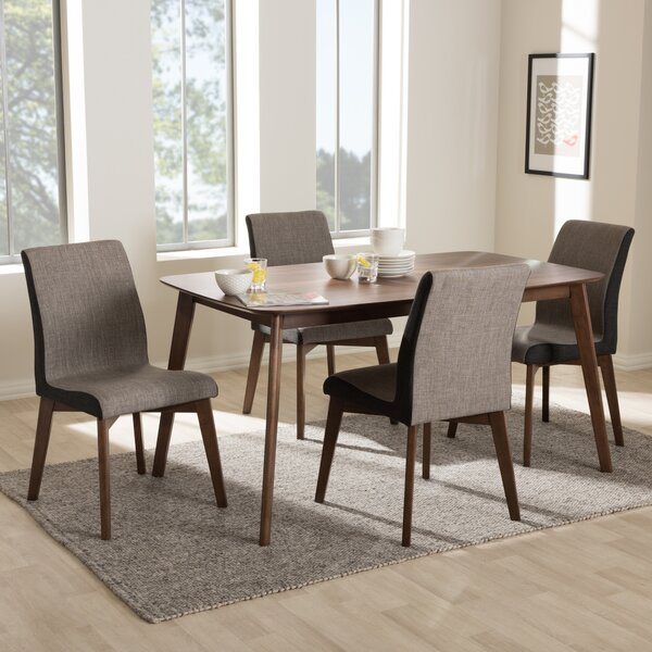 Dinges Mid-Century Modern Beige and Brown Fabric 5-Piece Dining Set by George Oliver