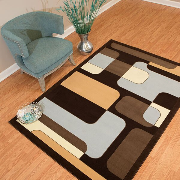 Eloise Blue/Brown Area Rug by Ebern Designs