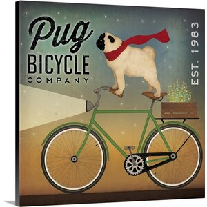'Pug on a Bike' by Ryan Fowler Vintage Advertisement on Wrapped Canvas by Great Big Canvas