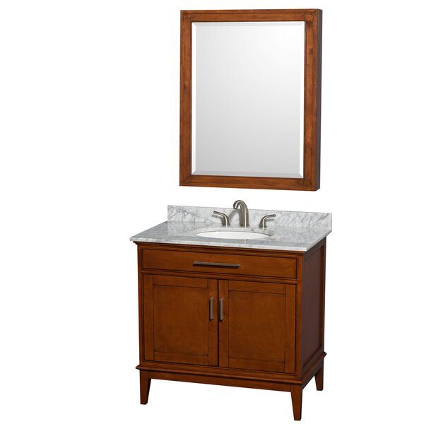Hatton 36 Single Light Chestnut Bathroom Vanity Set with Medicine Cabinet by Wyndham Collection
