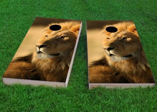 Laying Lion Cornhole Game (Set of 2) by Custom Cornhole Boards