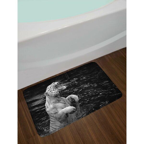 Safari Tiger Wintertime Rare Animal Portrait Eyes Wildlife Environment Non-Slip Plush Bath Rug by East Urban Home