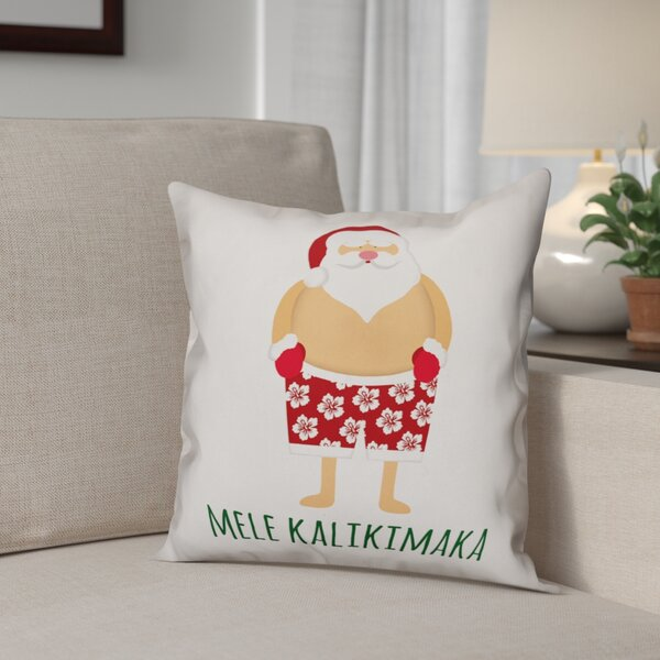 Santa Bathing Suit Polyester Throw Pillow by The Holiday Aisle