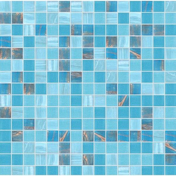 Standard Mix 13 x 13 Glass Mosaic Tile in Semi-Gloss Blue by Mosaic Loft