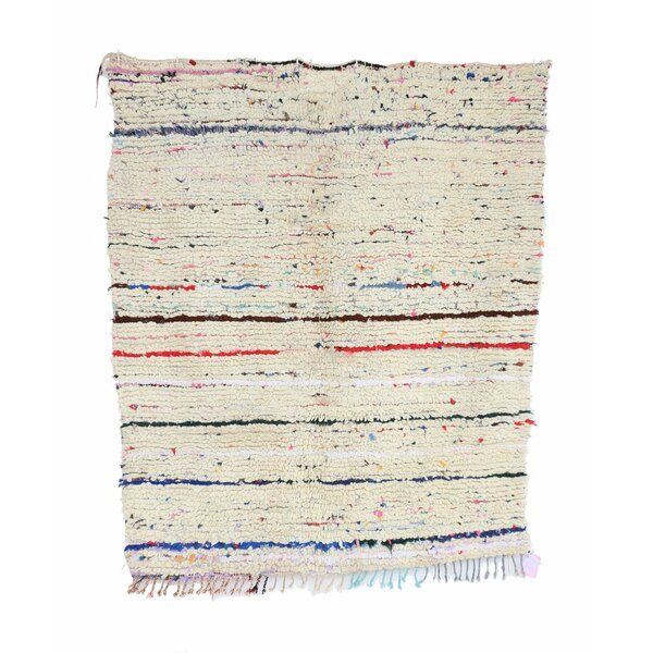 Azilal Vintage Moroccan Hand Knotted Wool Beige/Red Area Rug by Indigo&Lavender