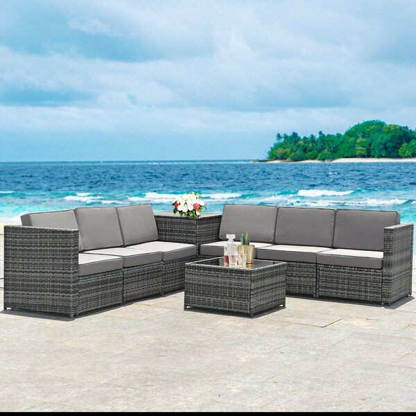 Deiondre Outdoor 8 Piece Rattan Sectional Seating Group with Cushions by Latitude Run