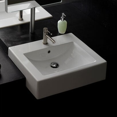 Ceramic 20 Semi-Recessed Bathroom Sink with Overflow by Scarabeo by Nameeks