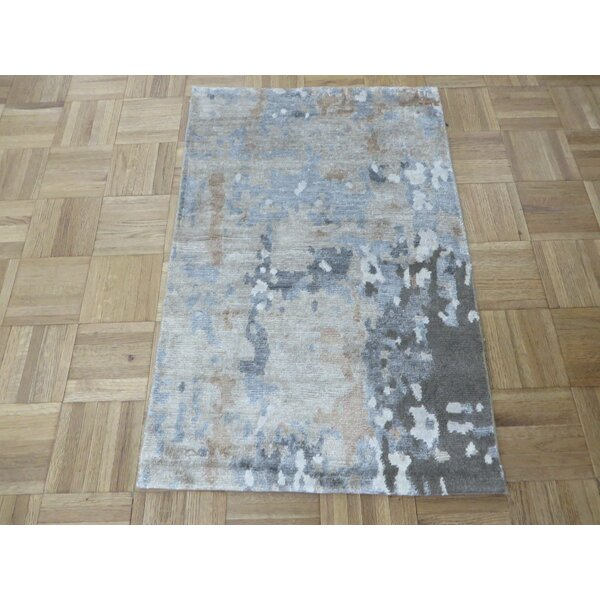 One-of-a-Kind Padang Sidempuan Modern Hand-Knotted Wool Gray Area Rug by Bloomsbury Market