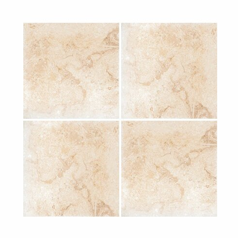 6 x 6 Travertine Field Tile in Ivory Honed by Parvatile
