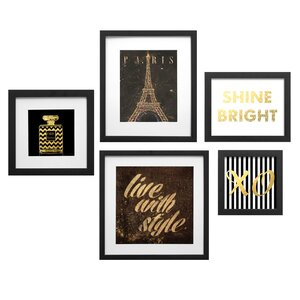 Paris Collage 5 Piece Framed Graphic Art Set by Star Creations