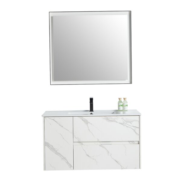 Alexandru 39 Wall-Mounted Single Bathroom Vanity Set with Mirror