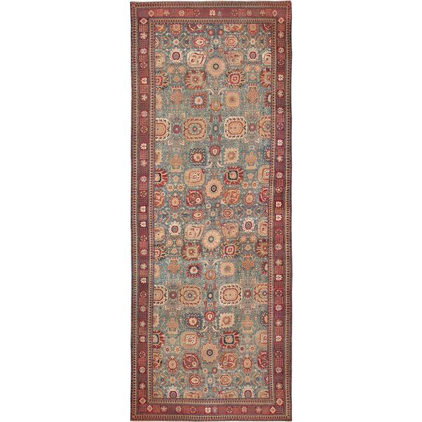 One-of-a-Kind Agra Hand-Knotted Before 1900 Blue 16' x 34' Runner Wool Area Rug