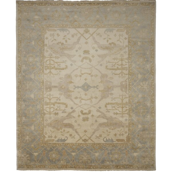 Oushak Hand-Knotted Blue/Beige Area Rug by Shalom Brothers