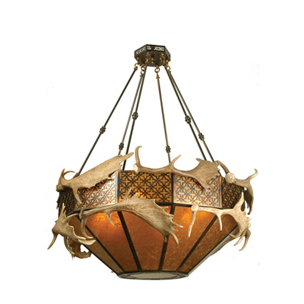 Fyffe 8 - Light Shaded Geometric Chandelier with Antler Accents by Loon Peak Loon Peak