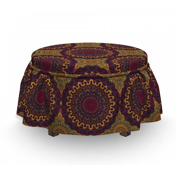 Moroccan Tribal Art Mandala 2 Piece Box Cushion Ottoman Slipcover Set By East Urban Home