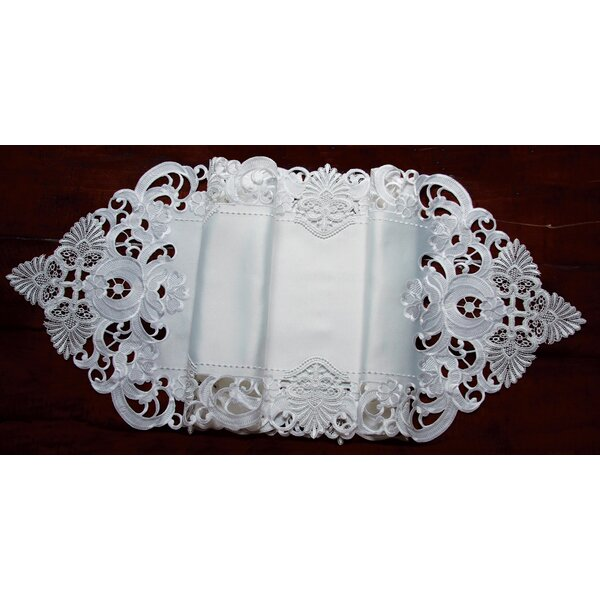 Delicate Lace Embroidered Cutwork Table Runner by Xia Home Fashions