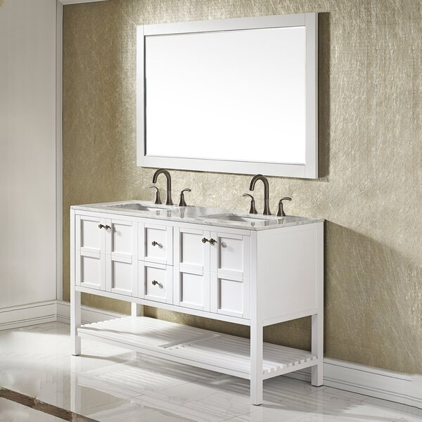 Caldwell 60 Double Bathroom Vanity Set with Mirror by Beachcrest Home