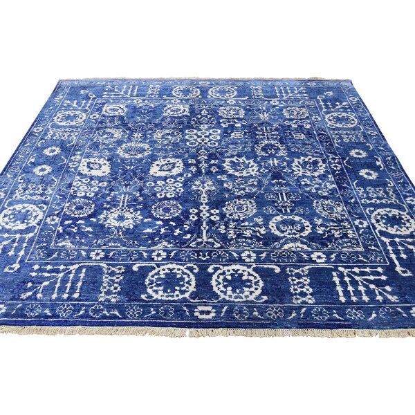 One-of-a-Kind Drumack Tabriz Oriental Hand-Knotted Silk Blue Area Rug by World Menagerie