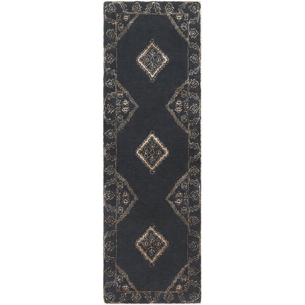 Tina Traditional Hand-Tufted Black/Khaki Area Rug by Bungalow Rose