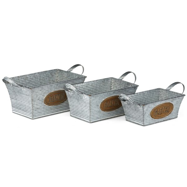 Flamboyant 3-Piece Iron Planter Box Set (Set of 3) by Benzara