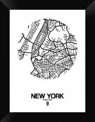 Naxart New York Street Map Framed Graphic Art Print On Canvas In White Wayfair
