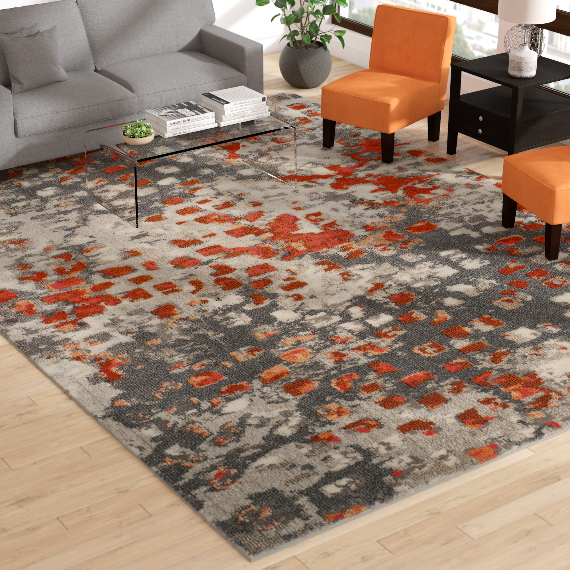 Gray Orange Area Rug Reviews Wayfair