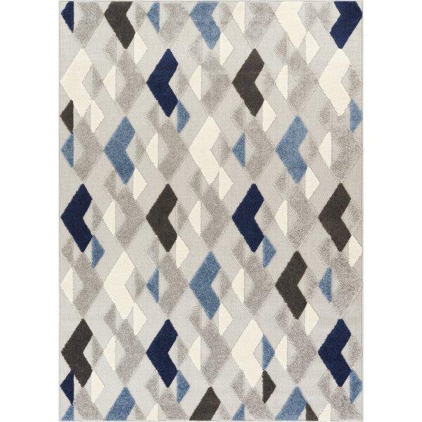 Dorado Beni Modern Geometric/Trellis High-Low Blue Indoor/Outdoor Area Rug by Well Woven