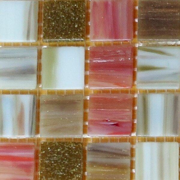 0.75 x 0.75 Glass Mosaic Tile in Green/Peach/Brown by Bellaterra Home