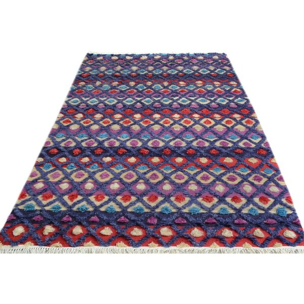 One-of-a-Kind Bakerstown Moroccan Hand-Knotted Wool Purple/Blue Area Rug by Bloomsbury Market