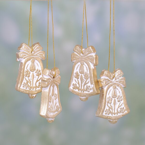 Floral Bell Ceramic Shaped Ornament (Set of 4) by Novica